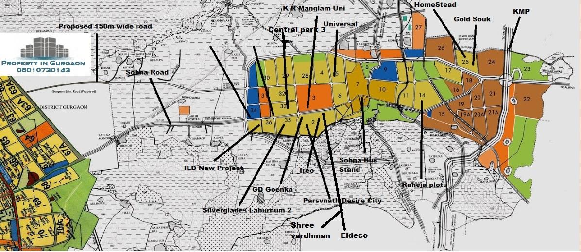 Sohna Sector Maps |Sohna Map| Huda Sector Plan | Sohna Master plan 2031 | Sohna Sector Plan 2031 | Sohna Property Map | South of Gurgaon Map | south of Gurgaon Master Plan 2031