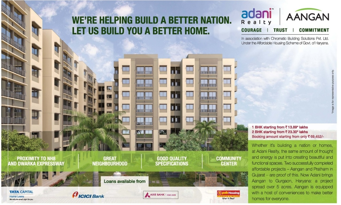 Adani Aangan- Adani Realty presents Adani Aangan  phase 1 & Phase 2 residential flats/ apartments in sector 88A & 89A Gurgaon on Dwarka expressway highway, under Huda affordable housing policy scheme. View full details of Adani Aangan Gurgaon such as price, floor plans, specifications, construction status,  possession date, amenities and many more…