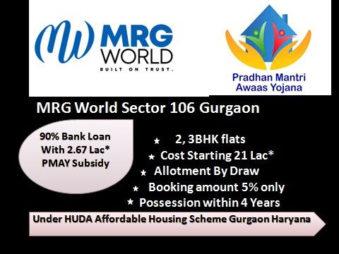 MRG World Affordable Housing Sector 106 Gurgaon   MRG world 106 Dwarka Expressway   8010730143